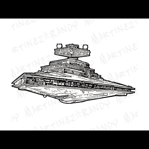 Star Destroyer: Back Glass-Original Art for Official Star Wars Gaming Star Destr