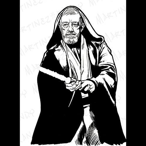 Obi-Wan Kenobi: Pro Back Glass Original Art for Star Wars Gaming