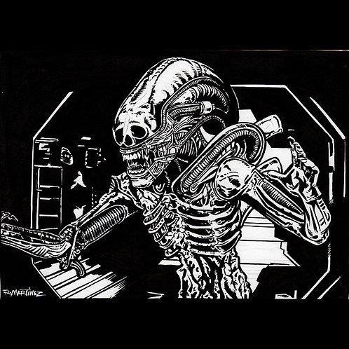 Original Alien Xenomorph - Original Art for Official Alien Trading Cards