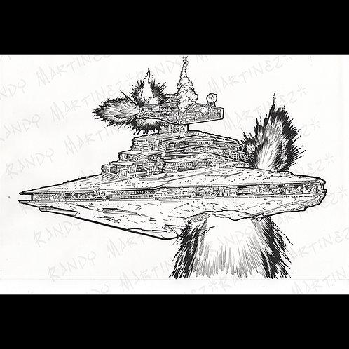 Star Destroyer 2-Pro Cabinet Original Art for Star Wars Gaming