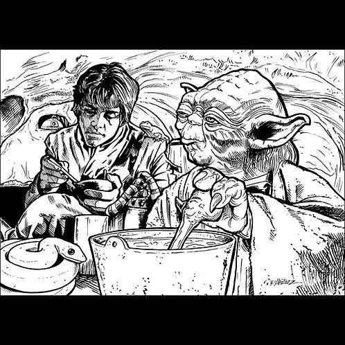 Luke at Yoda's Hut-Original Art for Official Star Wars Trading Cards