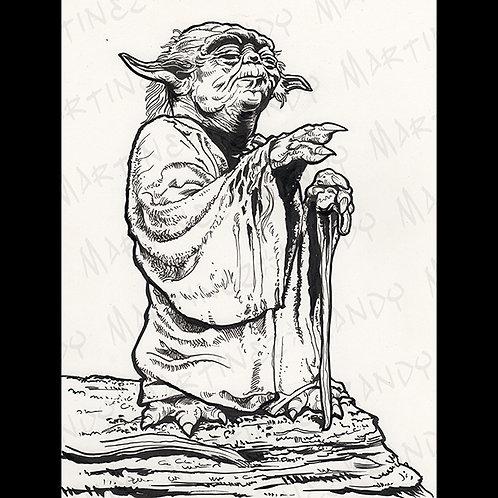 Yoda-Pro Back Glass original Art For Star Wars Gaming