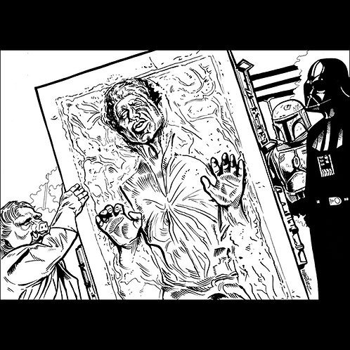 Han Solo Frozen-Original Art for Official Star Wars Trading Cards
