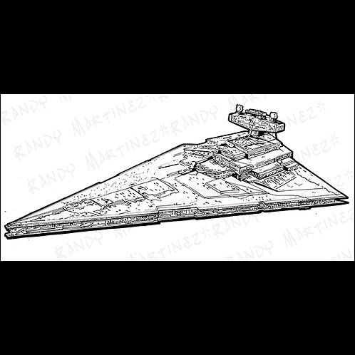 Star Destroyer-Pro Cabinet Original Art For Star Wars Gaming