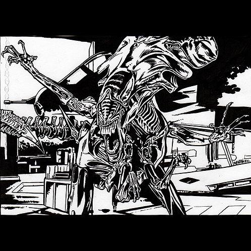 Queen Alien Xenomorph-Original Art for Official Alien Trading Cards