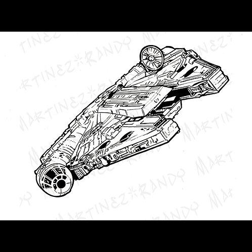Millennium Falcon : Backglass - Original Art for Official Star Wars Gaming