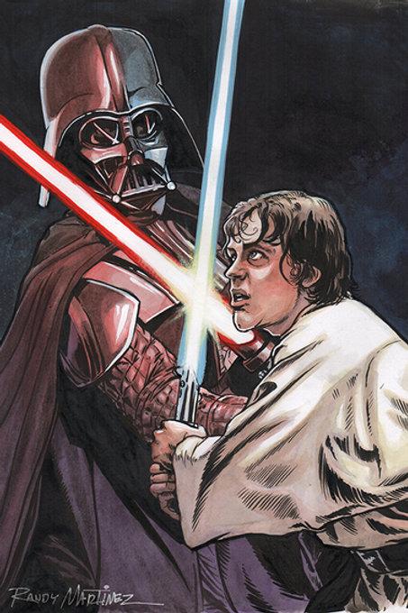 Darth Vader Vs Luke Skywalker-Official Star Wars Book Illustration $300.00