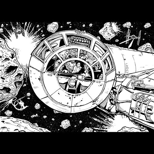 The Asteroid Field-Original Art For Official Star Wars Trading Cards