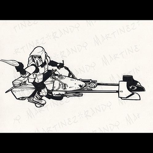 Speeder Bike/Scout Trooper - original Art for Official Star Wars Gaming