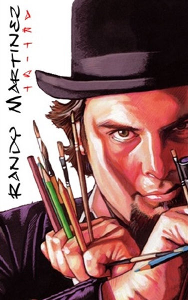 Official Randy Martinez Logo, Portrait of Randy Martinez holding Pencils brushes and pens between his fingers like Wolverine