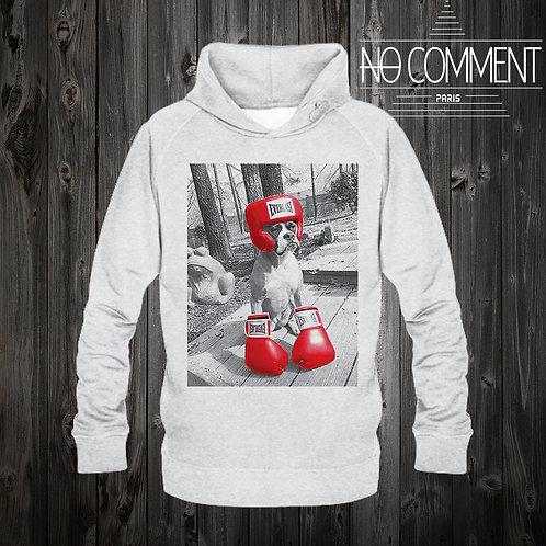 Sweat capuche gris boxing dogréf: CAP01