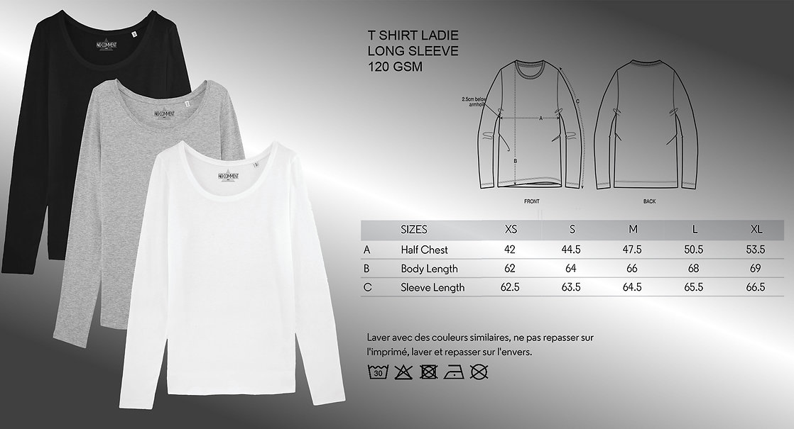sizing and color t shirt long sleeve lad