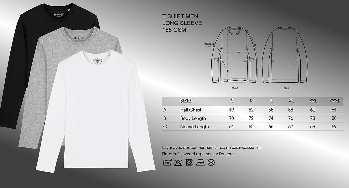 sizing and color t shirt long sleeve men