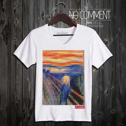 T-shirt Geek, Le cri Munch LEGO réf: BRICK37