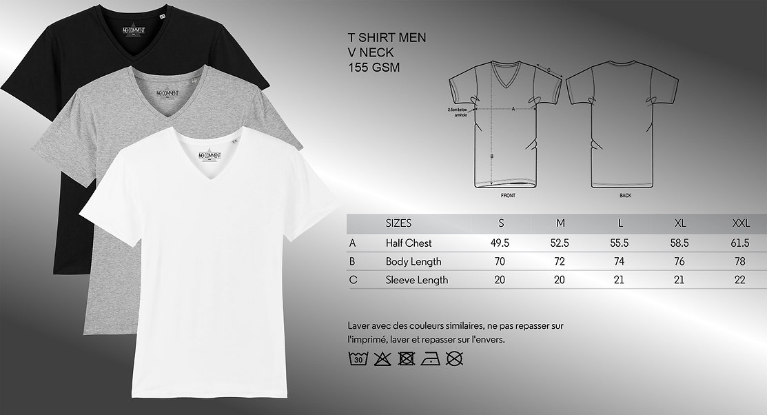sizing and color  t shirt men v neck 155