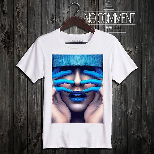 t shirt blue finger ref: LTN84