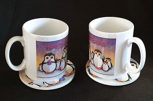 """Penguins"" Mug and Coaster Set"