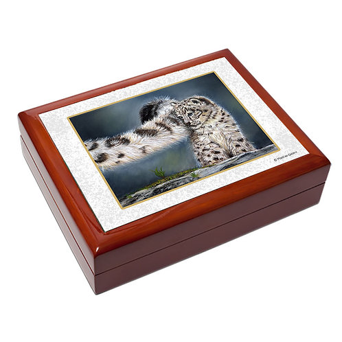 """Snow Leopard"" large trinket box"
