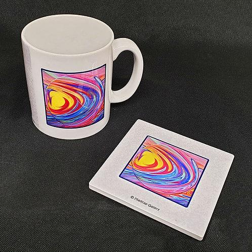 """""""Sunrise at Sea"""" Mug and Coaster Set"""