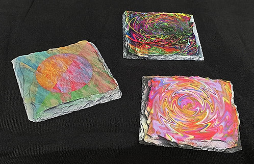 Slate Coasters with abstract designs