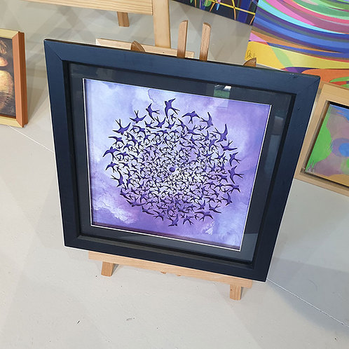 Swifts on purple background