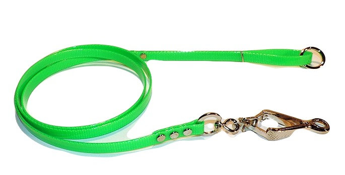 Neon green 1/2 inch wide dayglo dog lead with french snap on dog end and ring in the handle. 5 foot long.