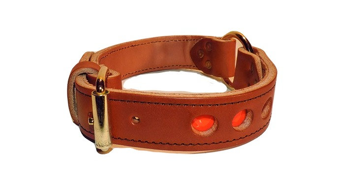 Brown Leather dog collar with center ring and has reflective spots.