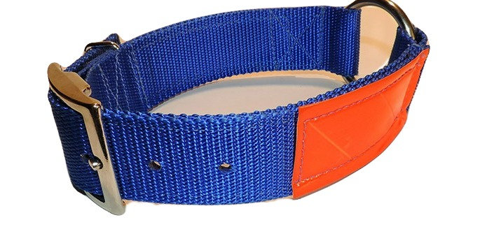 Blue 2 ply 1 1/2 inch nylon dog collar with center ring. Collar has orange reflective material on it.