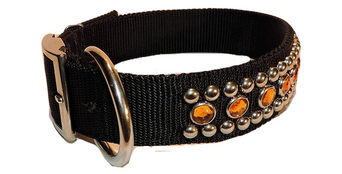 Black fancy nylon dog collar 1 1/2 inch wide. Collar has two rows of nickle spots with a row of amber jewels in between.