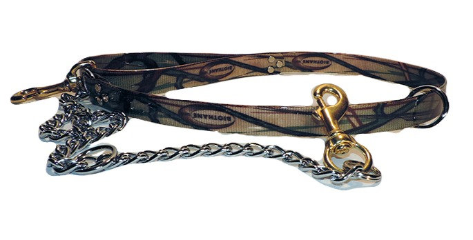 Camo Dayglo Dog Lead 1 Inch Wide With Chain