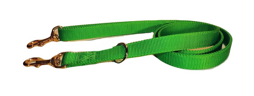 Neon green 1 inch wide double ply all nylon dog lead with solid brass snap in handle and on dog end.