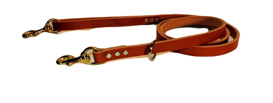 Brown premium 3/4 inch wide all leather dog  lead with brass snap in handle and on dog end.