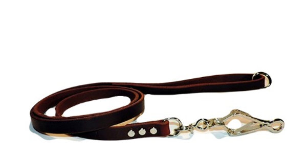5/8 inch wide oil treated leather dog lead with french snap and ring in handle