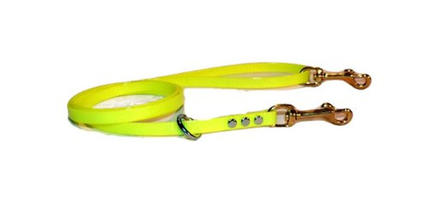 Neon yellow 1/2 inch wide dayglo leash with floating ring and brass snap in handle and dog end of leash.