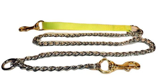 All chain dog lead with neon yellow nylon handle. Brass snap in handle and on chain.
