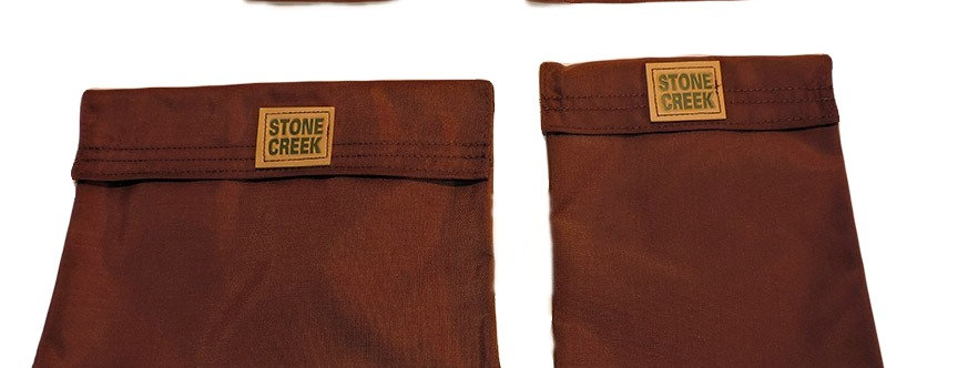 Brown nlyon pouches small, medium, large, and large tall