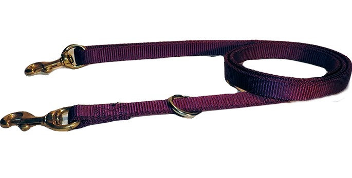Purple 3/4 wide 5 feet long all nylon dog lead. Nylon is double ply. Brass snap in handle and on dog end.