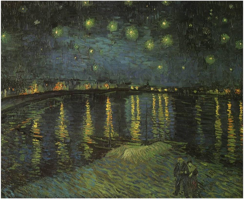 لوحة ليلة مرصعة بالنجوم على نهر الرون
