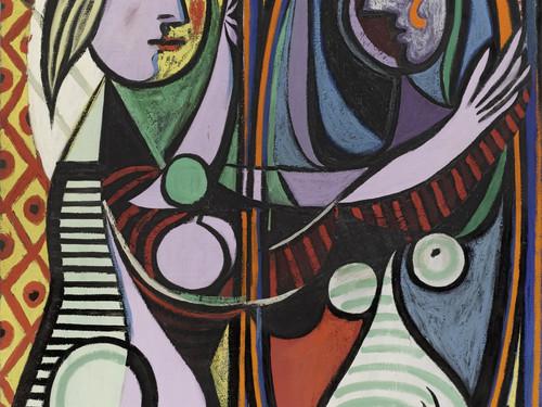 لوحة الفتاة أمام المرآة