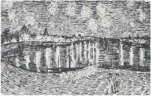 سكيتش ليلة مرصعة بالنجوم على نهر الرون