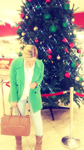 Green Coat with Bold Lipstick