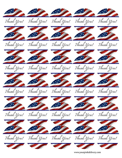 Red, White and Blue Thank You Stickers
