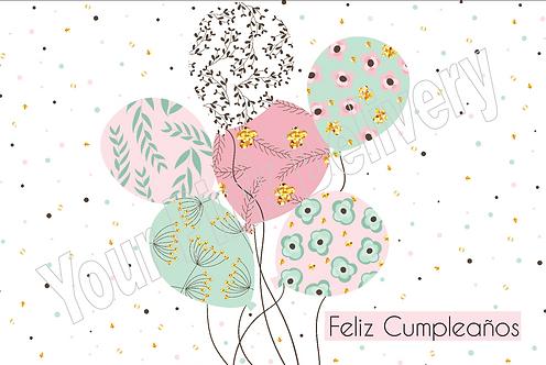 Spanish Happy Birthday Pattern Balloons
