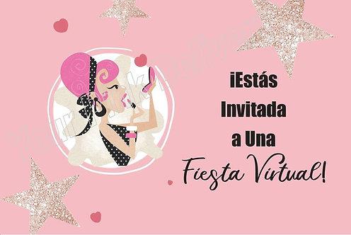 Spanish Virtual Party Pink & Stars