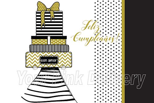 Spanish Happy Birthday Gold & Black