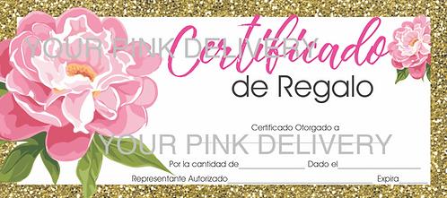 Gift Certificate Gold Frame Spanish