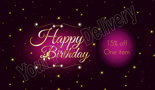 Happy Birthday 15% off