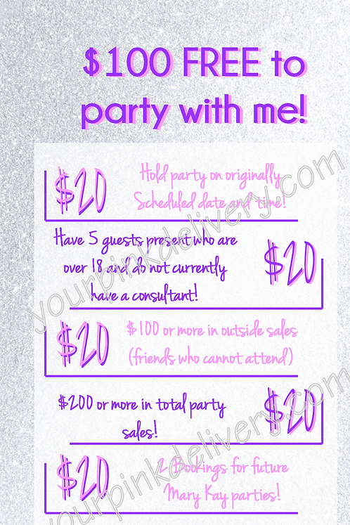 $100 Free to party with me