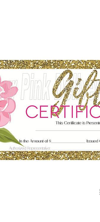 Gift Certificate Gold Frame