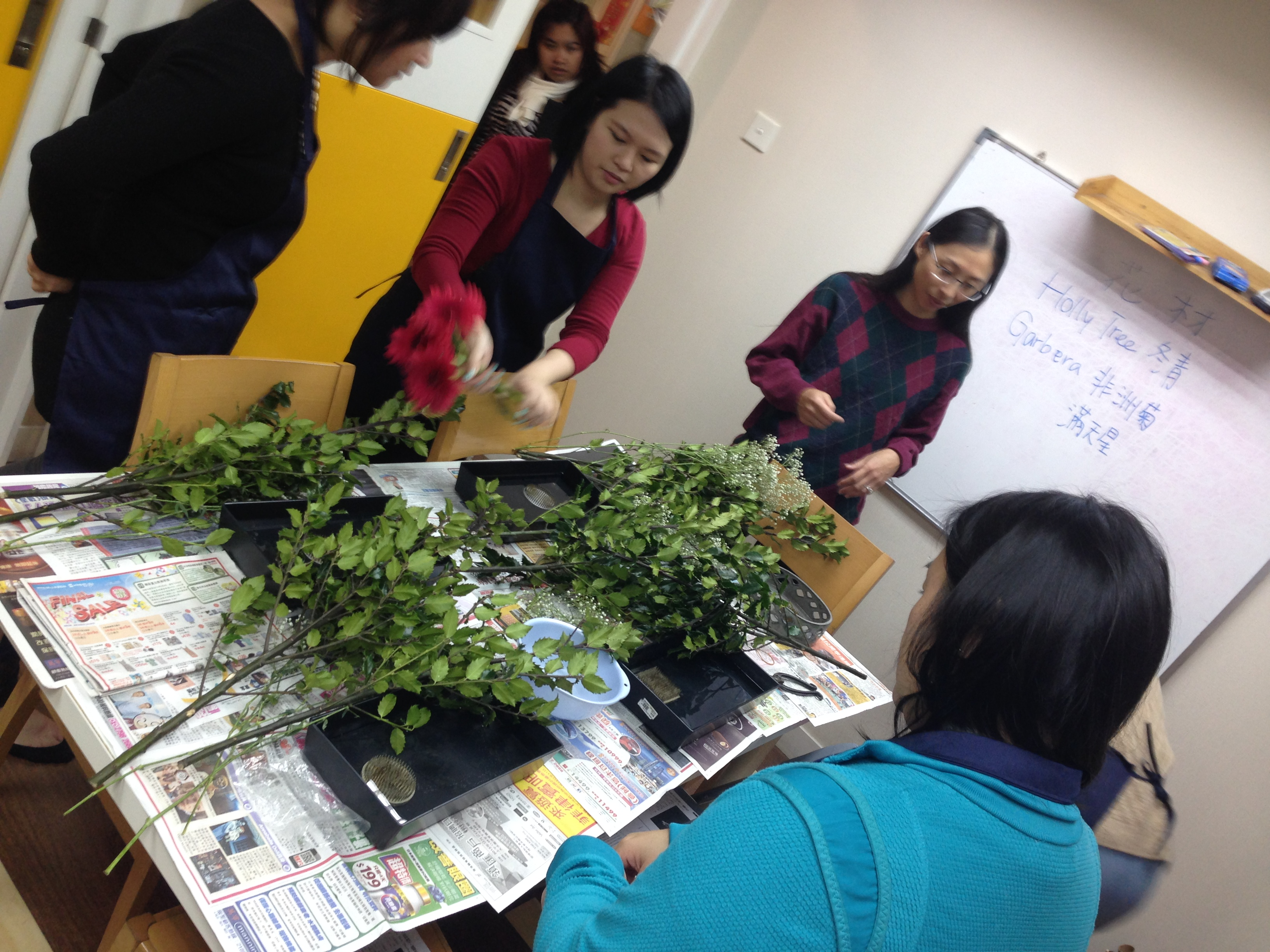 Students preparing their flowers